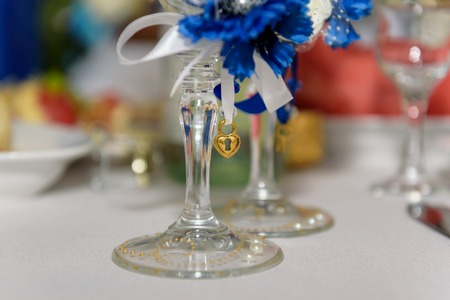 champagne glasses on table. Stock Photo