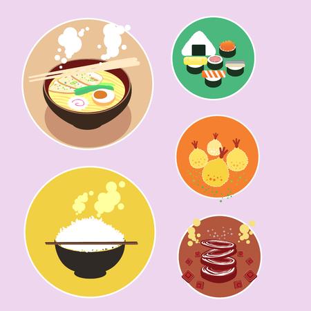 ramen: set of asian food flat icon