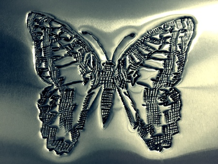 silver: Crafted butterfly on silver plate