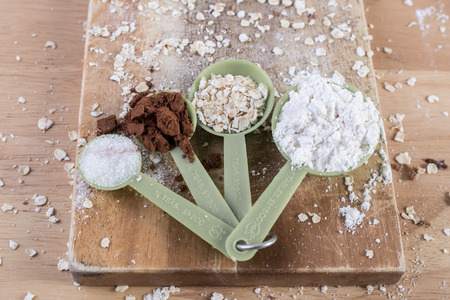 Measuring spoon with various flour Banco de Imagens