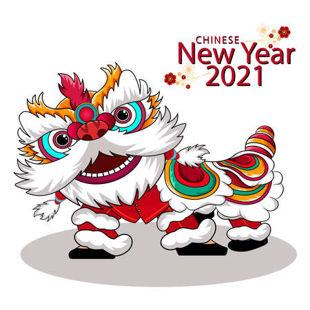Chinese new year with chinese lion dance