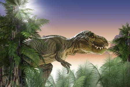 tyrannosaurus rex: dinosaurio en la selva