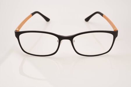 bifocals: Isolated nerd glasses thick black frame on white background