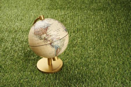 close up of terrestrial globe on grass background Stok Fotoğraf