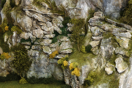 detailed miniature mountain model. Close up photo. Stock Photo