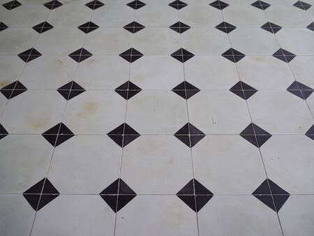 Close up Black and White Tiled floor photo