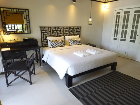 Beautiful hotel bedroom interior design at Moo Koh Surin Editorial