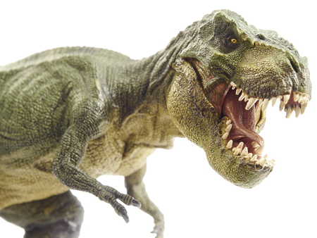 peligro: Dinosaurio aislado y el modelo monstruo en blanco