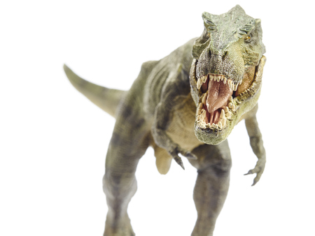 history: Isolated dinosaur and monster model in white