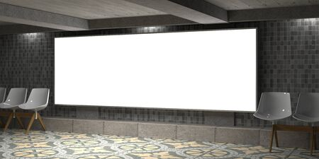 Blank billboard on empty wall with lights Stock Photo