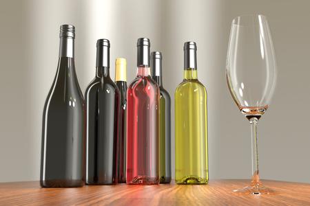 Weinflasche. Wein und Champagner mit Glas.