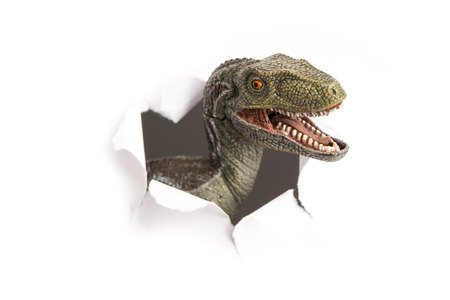 gash: close up dinosaur through the paper wall