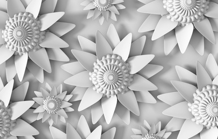 3d flower: Beautiful trendy nature background seamless pattern with grey  white summer 3d flower