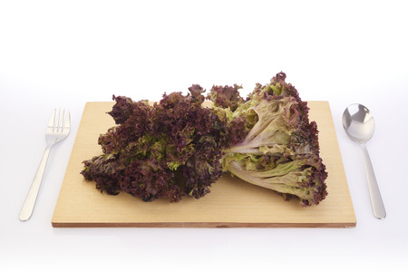 shooting red lettuce on cutting board in white background