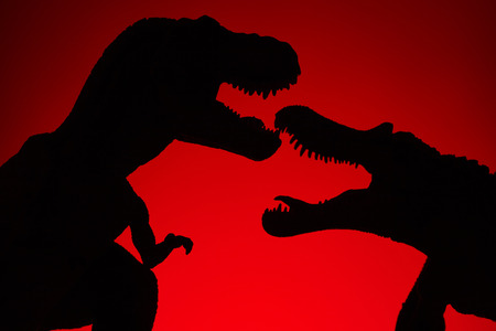 shooting dinosaur and monster model on red background