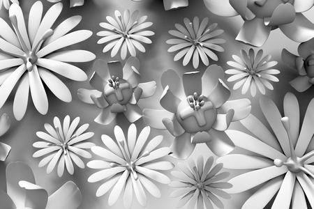 3d flower: Beautiful trendy nature background seamless pattern   white summer 3d flower Stock Photo