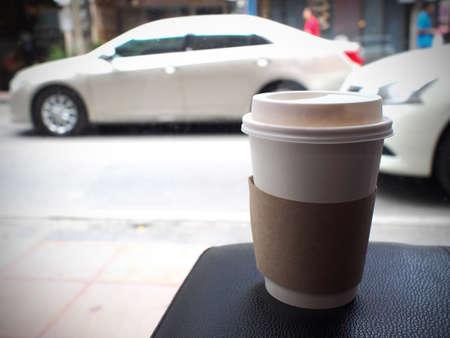 Tasse Kaffee auf schwarz Tisch
