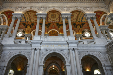 Interior of the Library of Congress in DC - USA