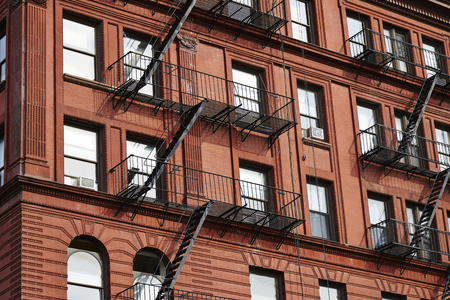 tenement: apartment buildings in New York City - USA
