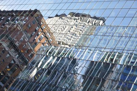 Blue mirror glass facade skyscraper buildings city