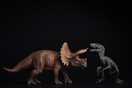 Isoliert Dinosaurier auf schwarzem Hintergrund Lizenzfreie Bilder