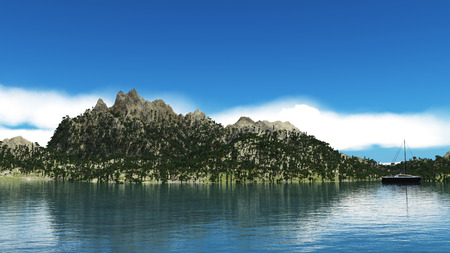 An image of a big nice mountain in blue skies background