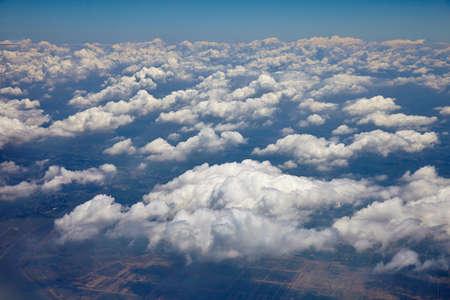 blue sky with clouds closeup - beautiful sparse clouds