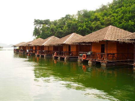 raft: raft and house floating in river Kwai, Kanchanaburi, Thailand