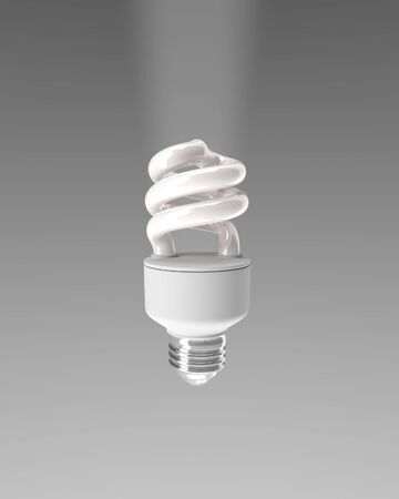 bombillo ahorrador: energy saving bulb on gray background. Isolated 3D image