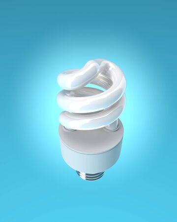 bombillo ahorrador: energy saving bulb on blue background. Isolated 3D image Foto de archivo