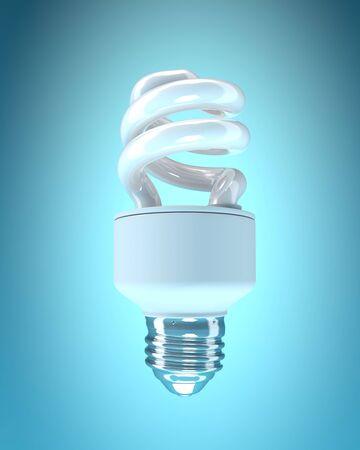 bombillo ahorrador: bombilla de ahorro en fondo azul. Aislados imagen en 3D Foto de archivo