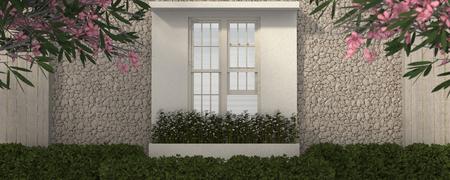 window and house have a flower container gerdening Lizenzfreie Bilder
