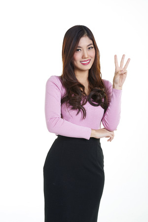 consider: Shooting Young asian businesswoman think of something Stock Photo