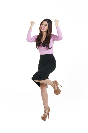 Shooting Young asian businesswoman think of something Stock Photo