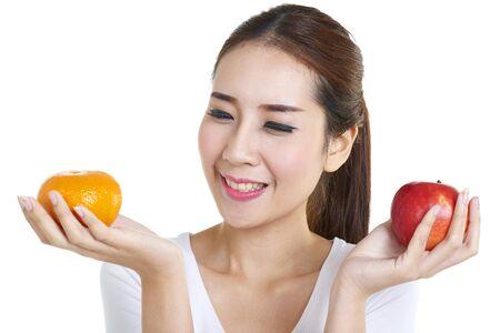 table skirt: Beautiful smiling woman having a healthy breakfast
