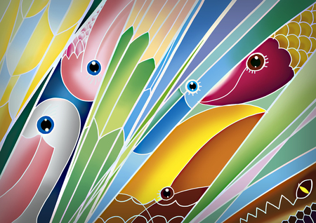 soft colors: Abstract  color texture. Painted silk, batik textiles. Stock Photo
