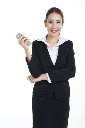 businessman waiting call: Young asian in business suits on white background Stock Photo