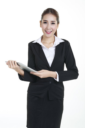 Beautiful young caucasian business woman on white background Stock Photo