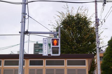 paso de peatones: Tokyo, JAPAN - November 21, 2015: red light at crosswalk, Japan.
