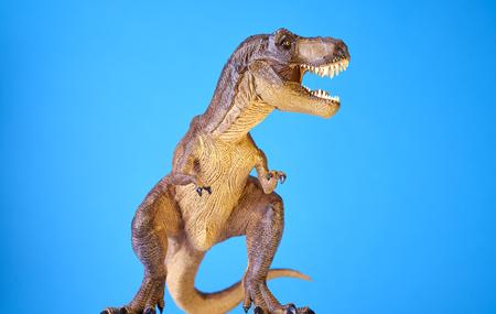 dinosauro: Isolato dinosauro a sfondo blu