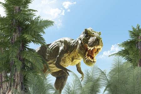 muerte: dinosaurio en el fondo de la selva. 3D rinden Foto de archivo