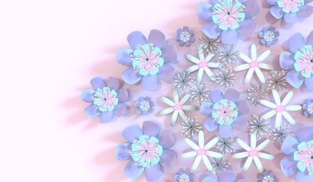 3d flower: Beautiful background seamless pattern with colorful 3d flower and leaves. Floral trendy modern wallpaper. Stock Photo