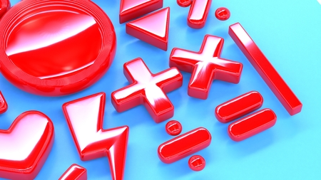 subtract: a set of red 3d math symbols or signs