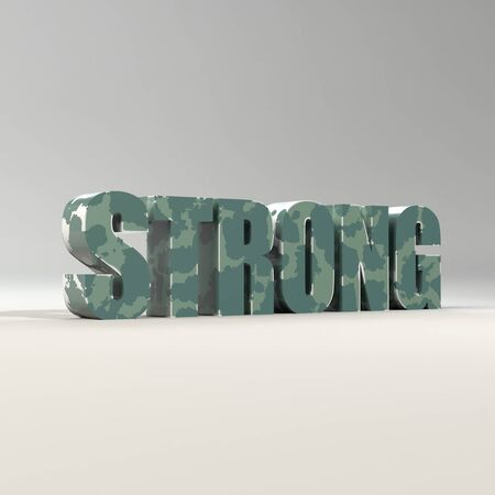 single word: Strong word single from three dimensional letters.