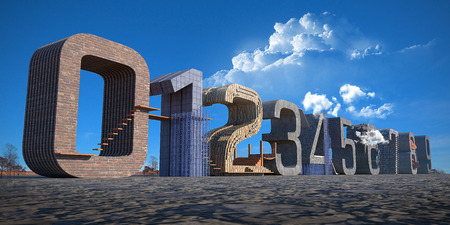0 9: Set of 3d numbers, from 0 to 9 in blue skies background