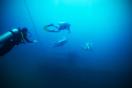 tec: Divers and Marine shipwreck underwater with sea fish