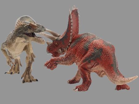 shooting dinosaur on gray background Stock Photo