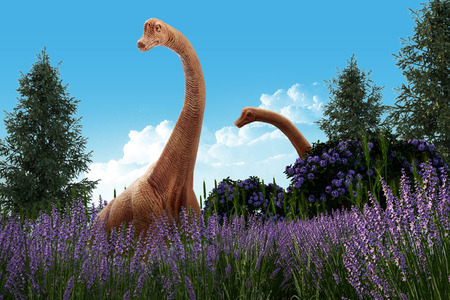 Two Dracorex dinosaurs walk with lavender flower