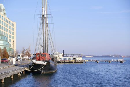 sailling: Tall Ship Roald Amundsen, docked at Toronto Harbourfront Centre in the Great Lakes Editorial