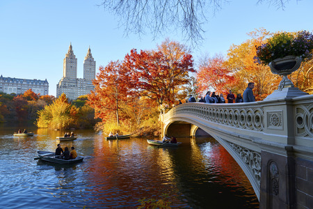 The Bow Bridge is a cast iron bridge located in Central Park, New York City Stock fotó